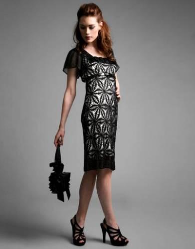 Вечернее черное платье крючком