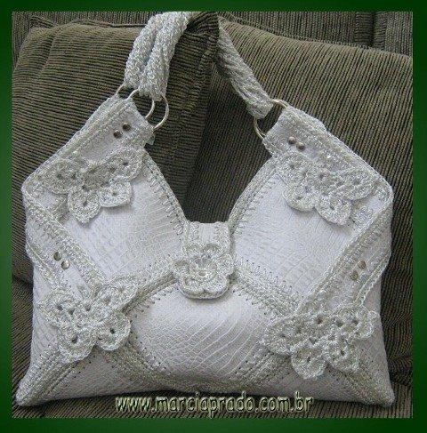"""Описание: Вязаные сумки  """" Белая вязаная сумка."""