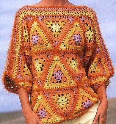 Схема вязания крючком пуловера