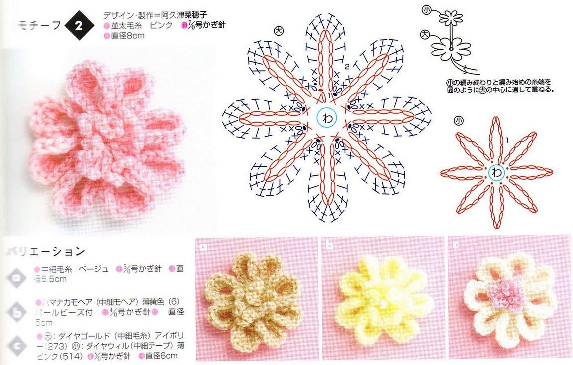 схема вязания крючком цветочных мотивов схемы вязания мотивов