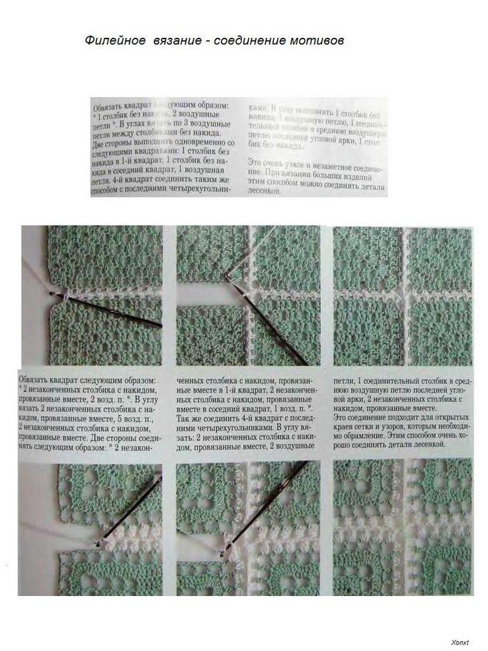 Вязание квадратов и их соединение