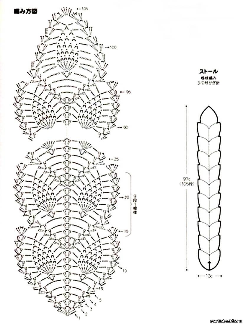 Вязание на спицах шарфов ажур 161
