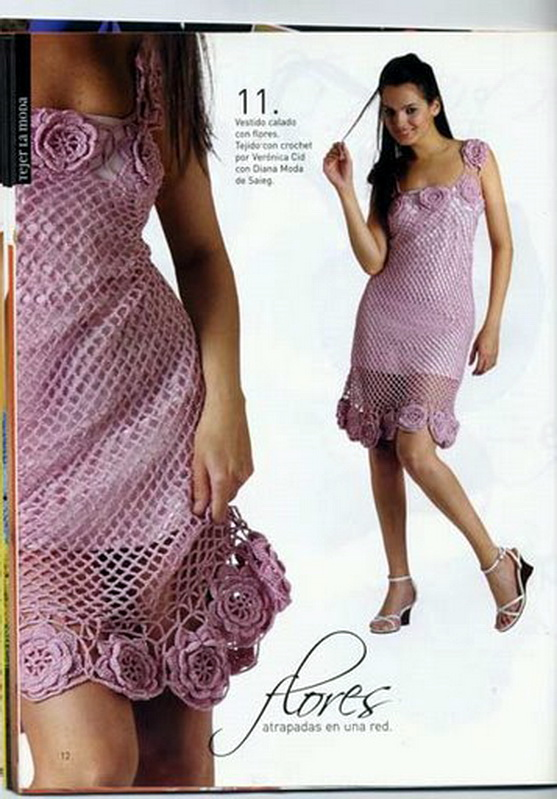 платья крючком спицами схемы вязания