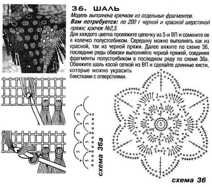 Описание и схемы вязания крючком шали 64