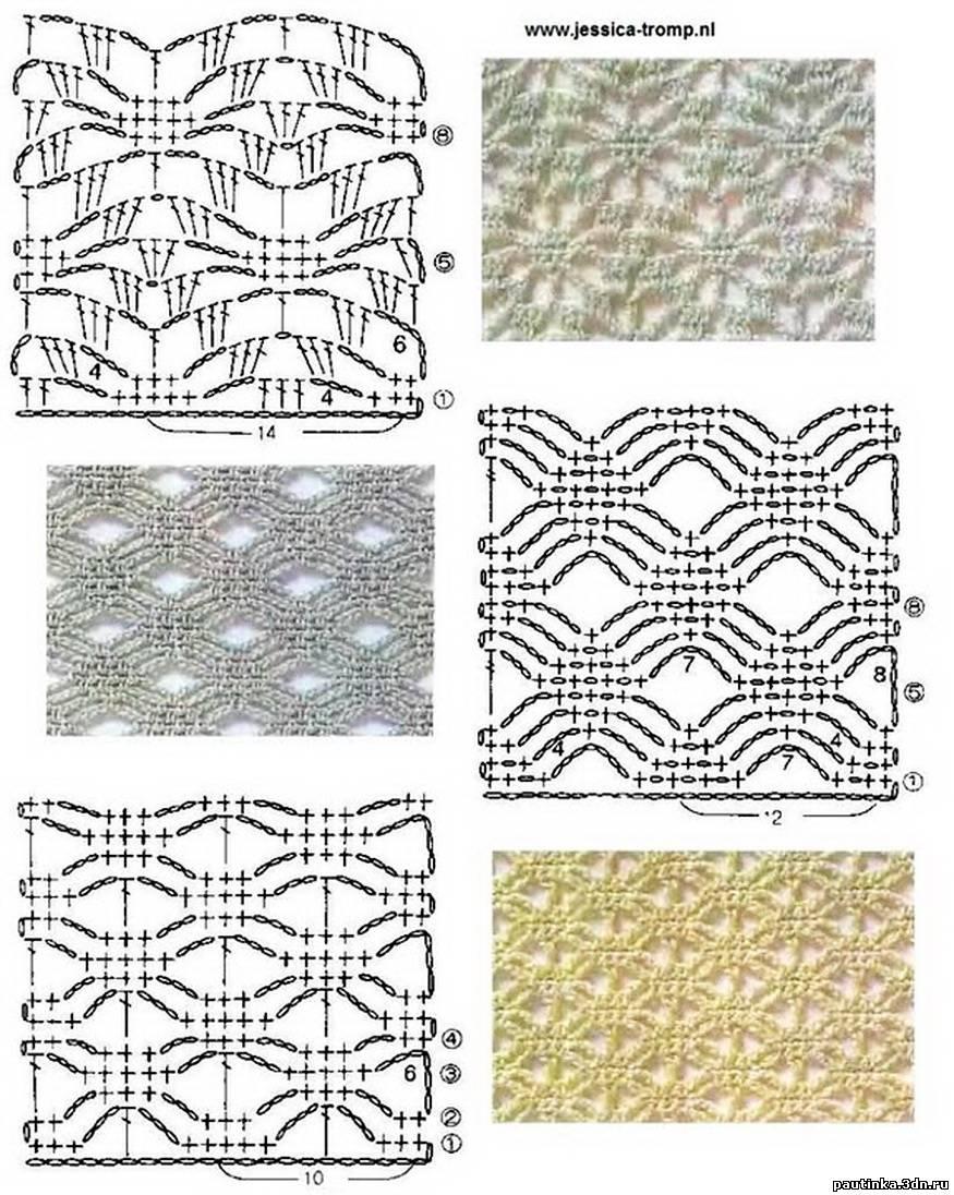 Схемы вязания мотивов крючком.