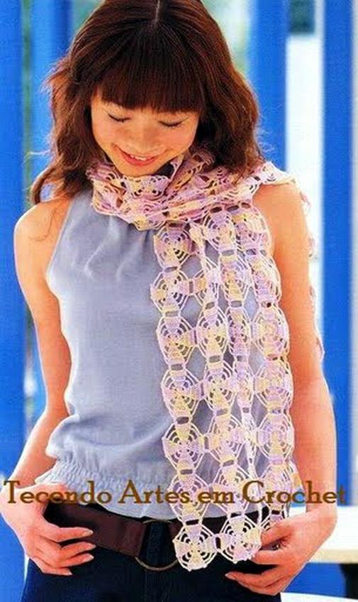 Вязание шарфа крючком, схема.