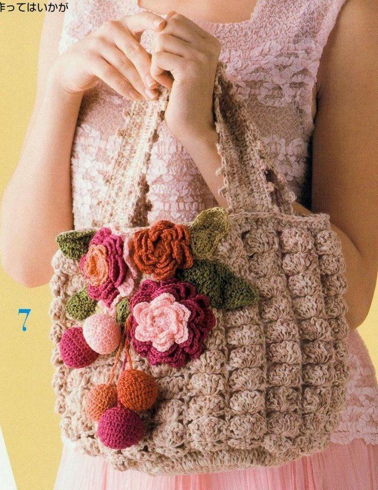 Схема вязания крючком сумки.