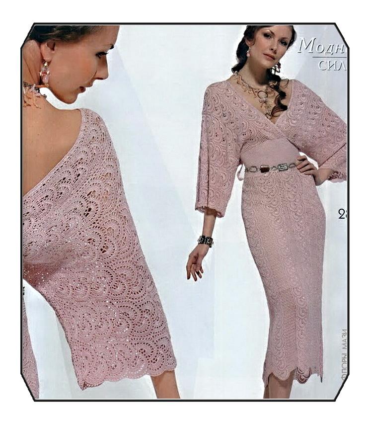 38 параллель: Нарядное розовое платье.  Схема вязания крючком.