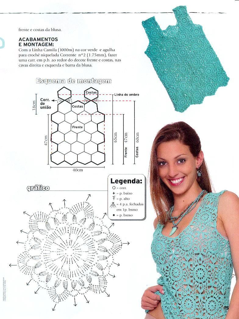 Схемы вязания топов - Вязание крючком, мотивы, схемы для.