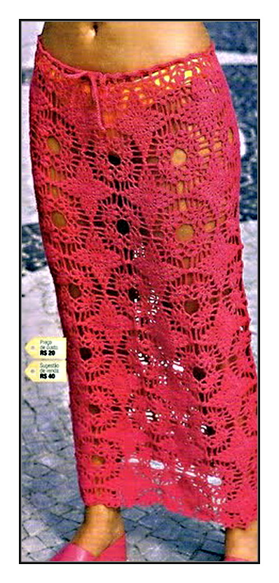 Длинная юбка крючком. Схема