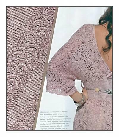 Нарядное розовое платье. Схема вязания крючком. 53340