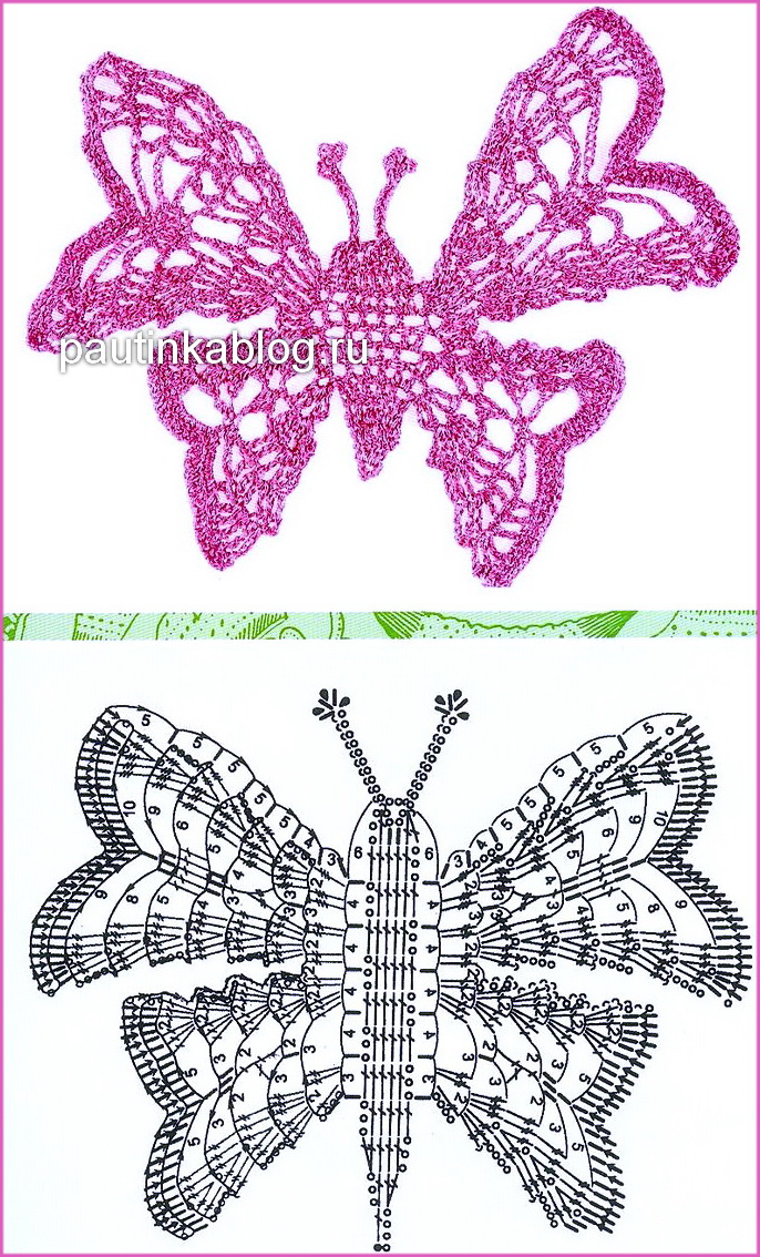 Коллекция вязаных бабочек - Схемы вязания узоров - Схемы ...