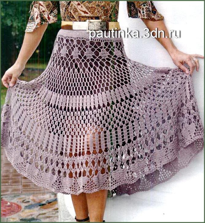 схемы описание юбки вязанные и