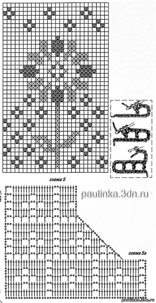 Схема филейного вязания платья