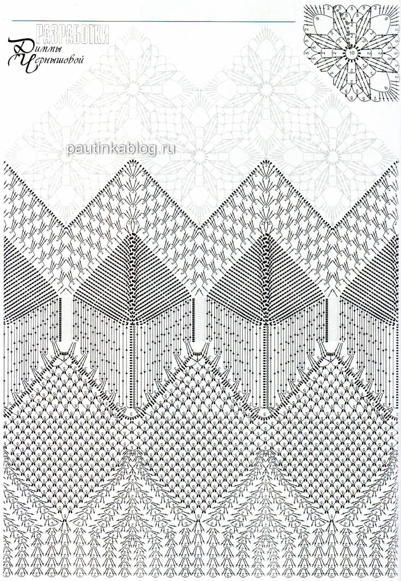 ажурное вязание крючком схемы юбки