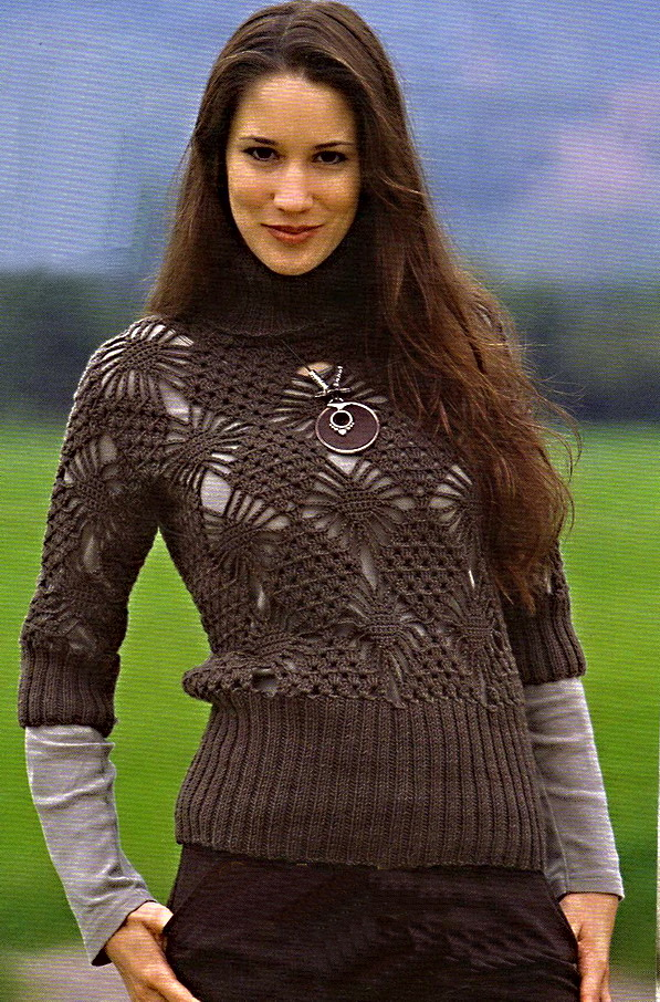 Вязание пуловера крючком.