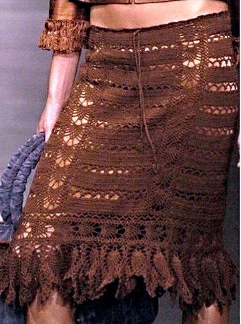 Вязание юбки крючком, схемы.