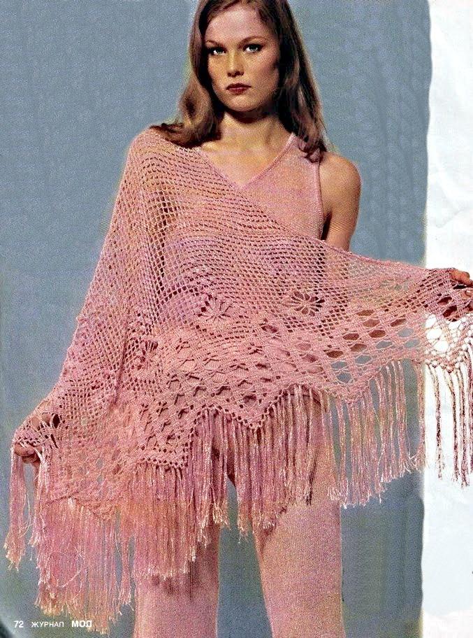 Вязание ажурной шали. схемы.