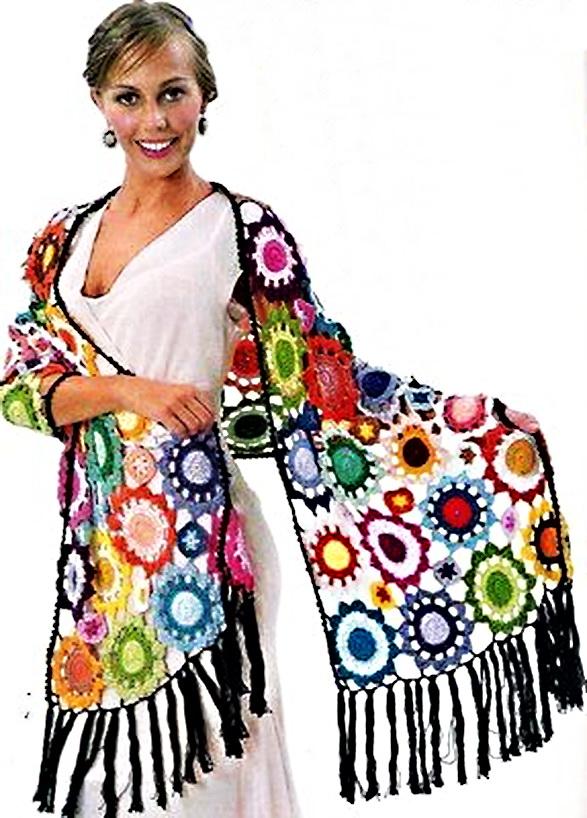 Схема вязания шарфа крючком.
