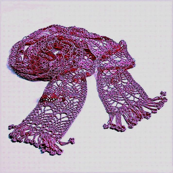 Ажурный шарф крючком, схемы.
