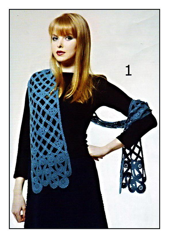 """Ажурный голубой шарф.  ЗООг пряжи  """"Лидия """" (100%- шерсть, 1600м/ЮОг) цвета морской волны, в 3 сложения."""