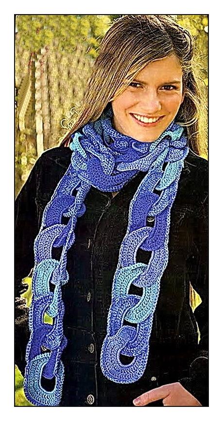 Схема вязания крючком шарфа.
