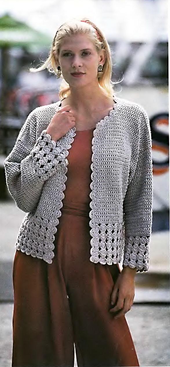 Женский костюм - кофта и юбка.  Схема вязания крючком.  Часть 5 - Простой серый жакет крючком Часть 6.