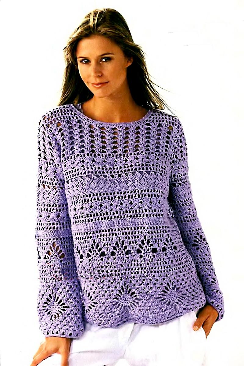 Вязание крючком/пуловеры,жакеты.  Процитировано.  Воскресенье, 16 Июня 2013 г. 10:13. в цитатник.