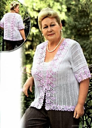 ажурный жакет для полных дам схема вязания крючком схемы вязания