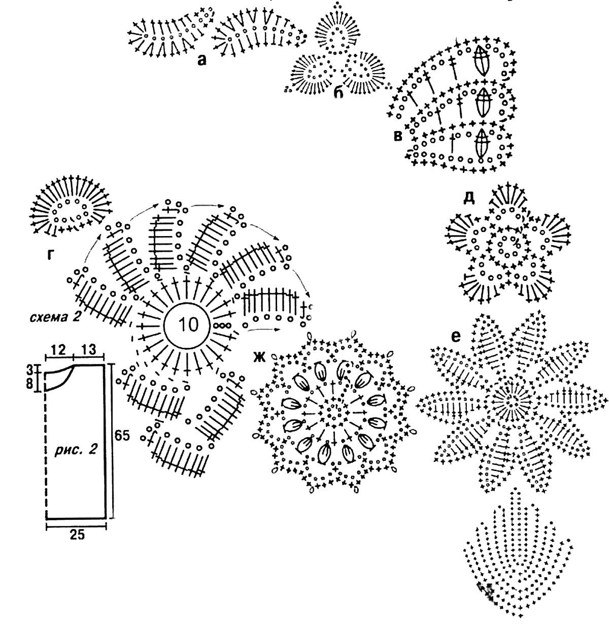 Вязание цветов крючком 68