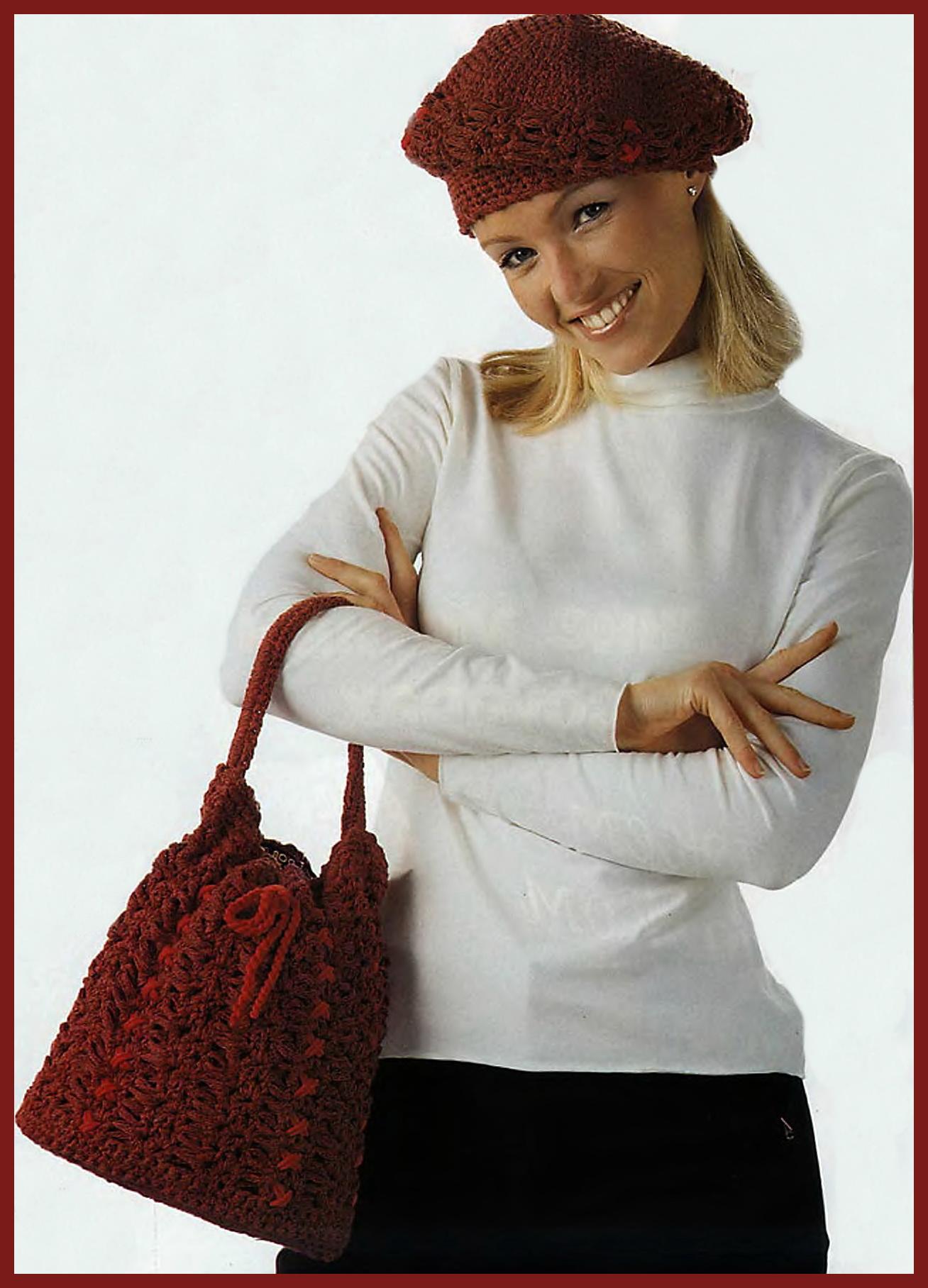 Описание: и берет.  Схема вязания сумки крючком.
