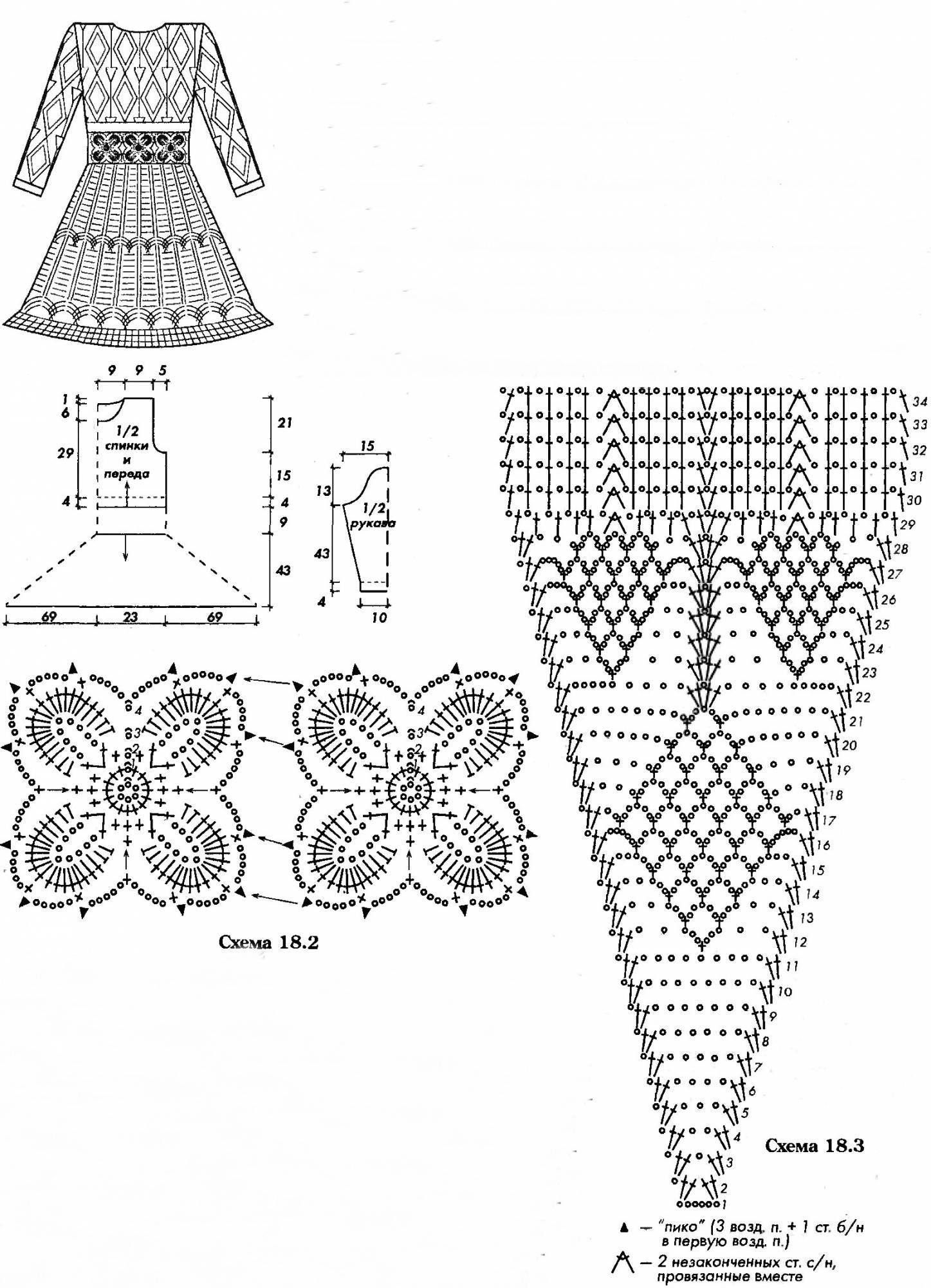 ажурные блузки крючком схемы и описание фото