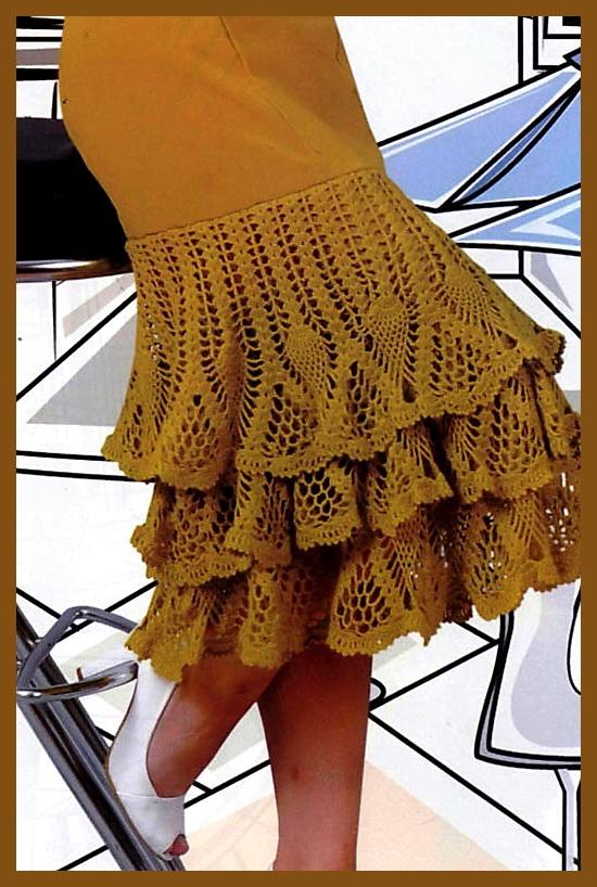 Схемы оборок для юбок, платьев крючком.