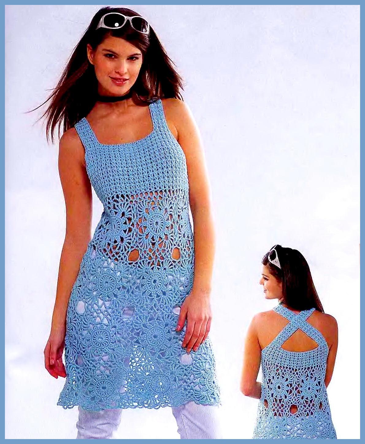 Бирюзовый вязаный ажурный сарафан из мотивов. Перед связан ажурным рельефным узором, юбка связана из квадратных мотивов. Ажурное вязание крючком