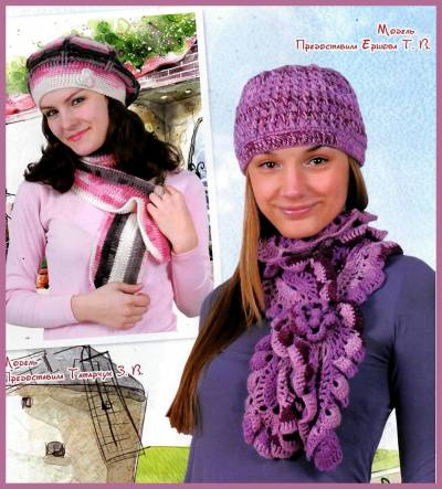 """Основной узор для шапочки: схема 1. Основной узор для шарфа: схема 2. Элемент  """"цветочек """": схема 3. Потребуется..."""