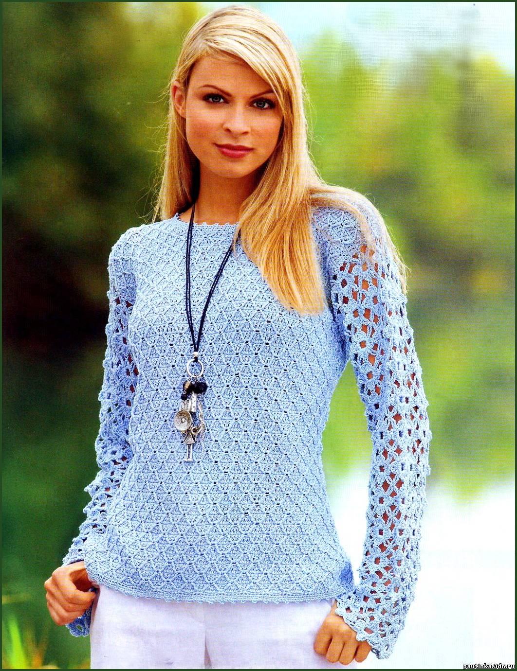 С рукавами из цветов пуловер крючком