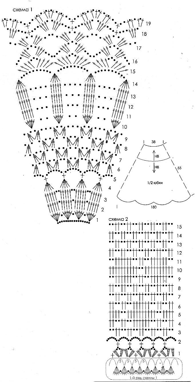 Схема легкого вязания юбки