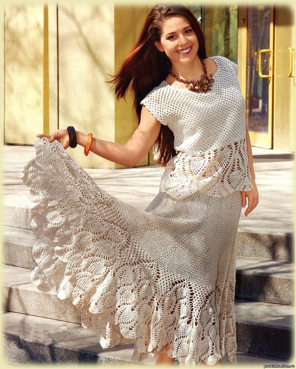 Вязаные платья 54 размера крючком