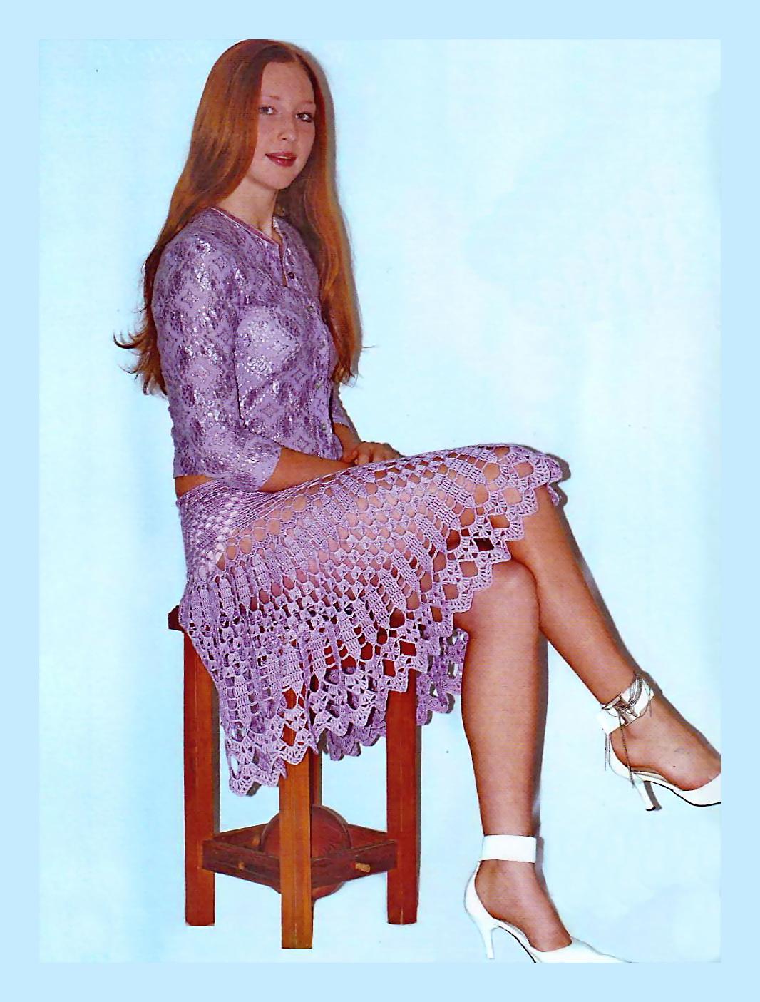 Схема вязания крючком сиреневой юбки с оборками.
