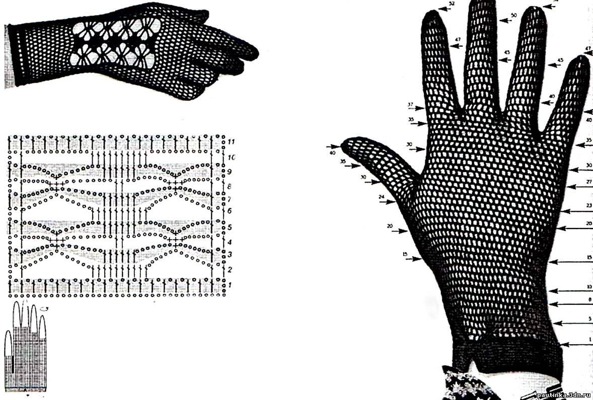 Схема перчатки летние вязаные крючком