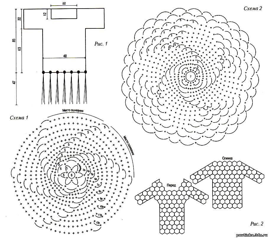 Вязанье спираль схема