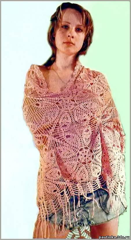Цветочная шаль из квадратов