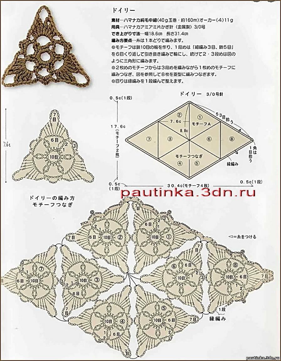 Вязаные треугольные мотивы.