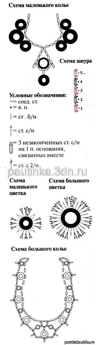 Схема вязаного колье