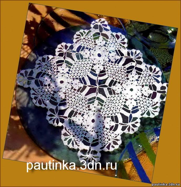 и схему вязания салфетки.
