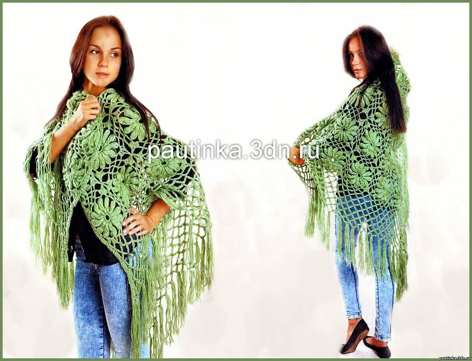 схема шарфа в цветочных мотивах