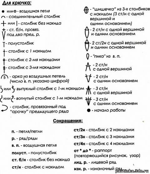 схема вязания крючком и условные обозначения