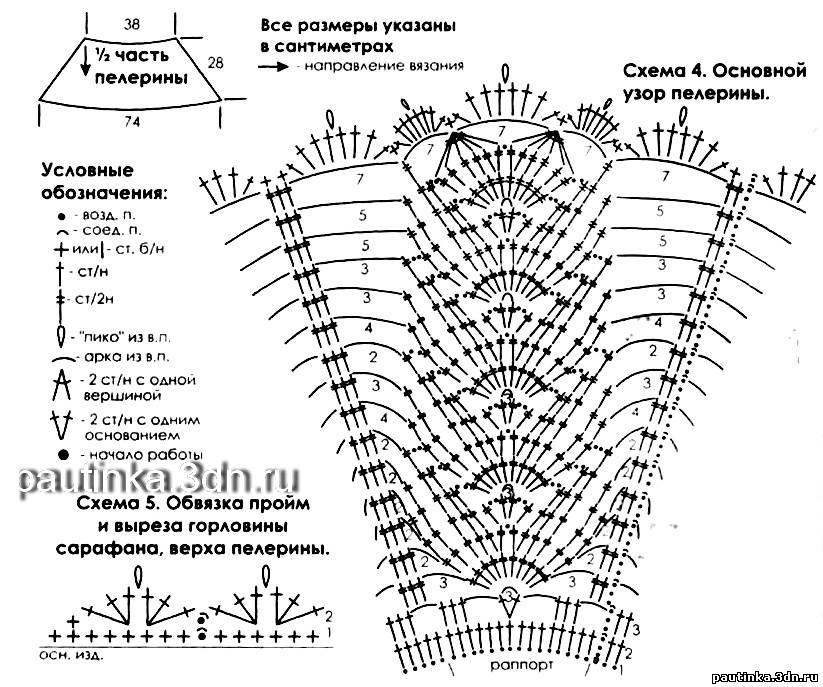 Схема вязания крючком накидки на плечи 92