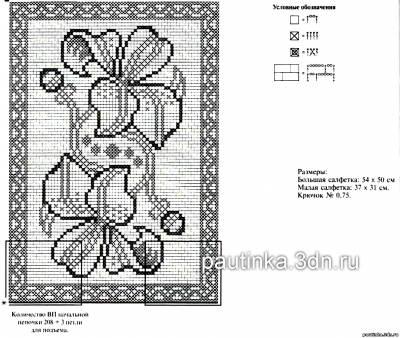 Схемы филейного вязания крючком салфетки и скатерти
