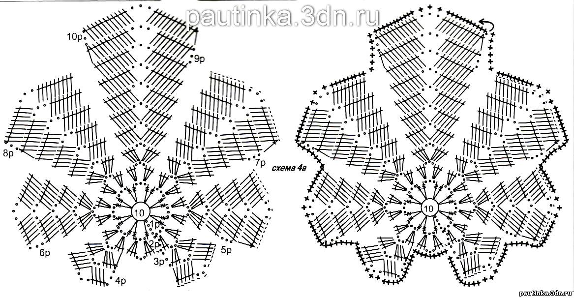 Схема вязания мотива листья